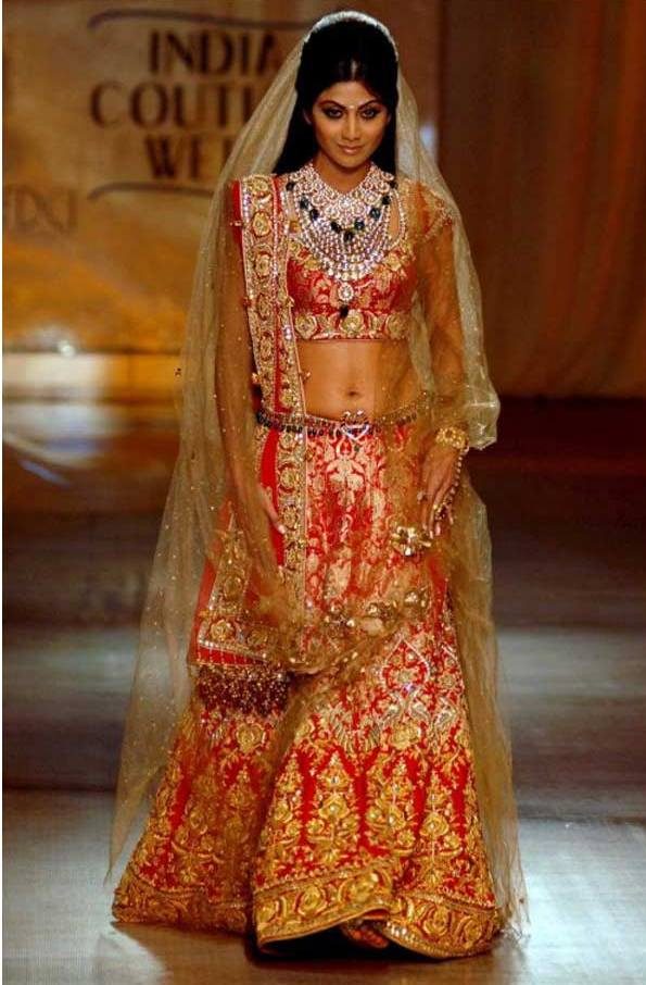Bollywood Actress Bridal Lehenga - Shilpa Shetty